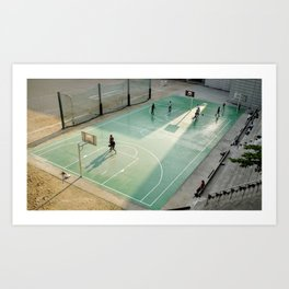 field and basketball players Art Print