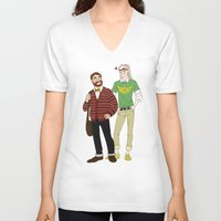 legolas V-neck T-shirts featuring Hipster Legolas and Gimli by Nautilus Gifticus