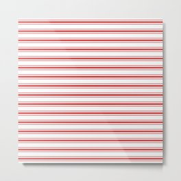 Mattress Ticking Wide Horizontal Striped Pattern in Red and White Metal Print