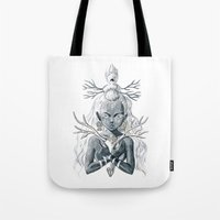 luna Tote Bags featuring Luna by Freeminds