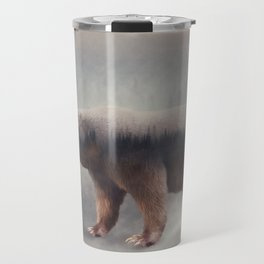 Double exposure of a wild brown bear and a pine forest Travel Mug