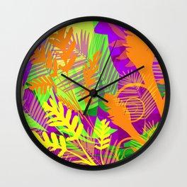 Electric Orange Tropics Wall Clock