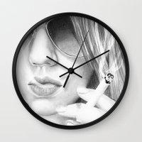alisa burke Wall Clocks featuring Alisa smoking by donotseemeart