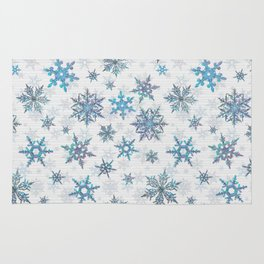 """Embroidered"" Snowflakes on white canvas Rug"
