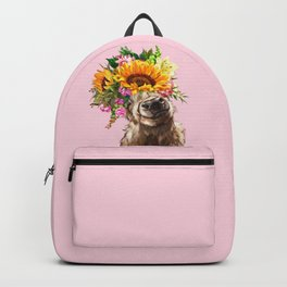 Sunfowers crown Highland Cow in Pink Backpack