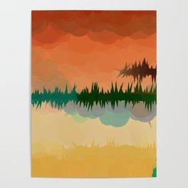 "Digital Abstract Landscape ""Minnesota Memories"" Poster"