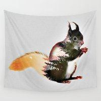 squirrel Wall Tapestries featuring squirrel by KrisLeov