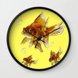 PRIZE WINNING BLACK-GOLDFISH YELLOW ART Wall Clock