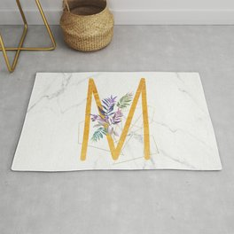 Modern glamorous personalized gold initial letter M, Custom initial name monogram gold alphabet prin Rug