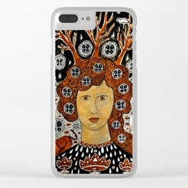 Woman with cats and snow Clear iPhone Case