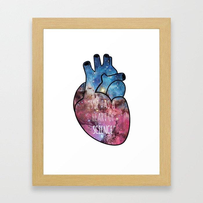 She Has a Heart of Science Framed Art Print