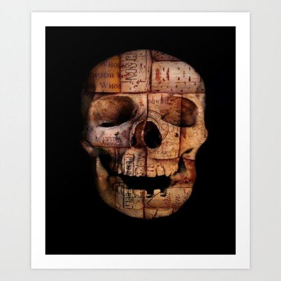 wine cork skull Art Print