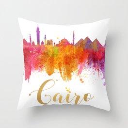 Cairo Skyline Egypt Watercolor cityscape Throw Pillow