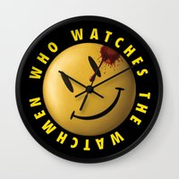 watchmen Wall Clocks featuring Who Watches The Watchmen? by Jack Allum