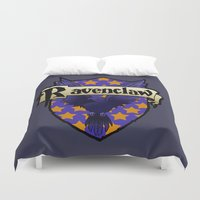 ravenclaw Duvet Covers featuring Ravenclaw Crest by AriesNamarie