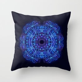 Blue Crystal Mandala Throw Pillow