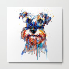 Schnauzer Head Watercolor Portrait Metal Print