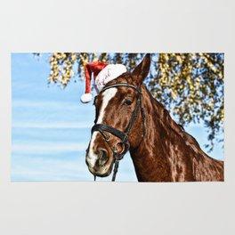 Horse Wearing Santa Hat Rug
