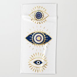 evil eye times 3 navy on white Beach Towel