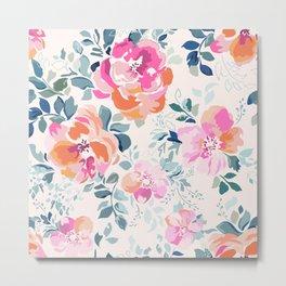 Floral Soft Pink Watercolor phone case Metal Print