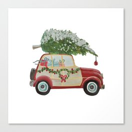 Vintage Christmas car with tree red Canvas Print