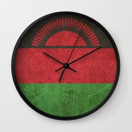 Old and Worn Distressed Vintage Flag of Malawi Wall Clock