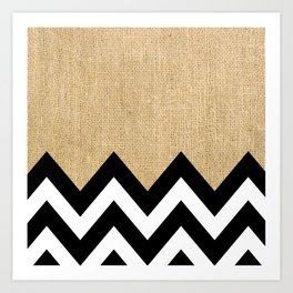 BURLAP BLOCK CHEVRON Art Print