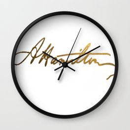 Alexander Hamilton Gold Signature Wall Clock