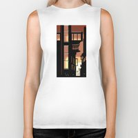 cityscape Biker Tanks featuring Sunrise Cityscape by Andrew Formosa
