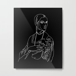 Modern Lady with an Ermine  Metal Print