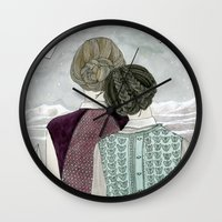 planes Wall Clocks featuring Paper Planes by Yuliya