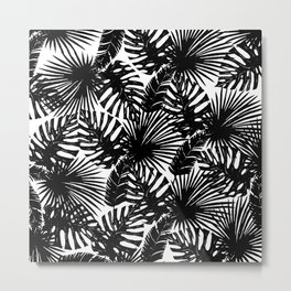 Modern black white watercolor tropical floral leaves Metal Print