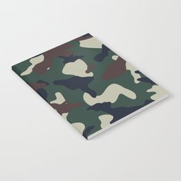 Green Brown woodland camo camouflage pattern Notebook
