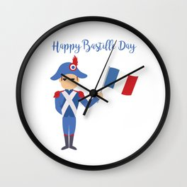 Soldier holding the French flag - Bastille Day Wall Clock
