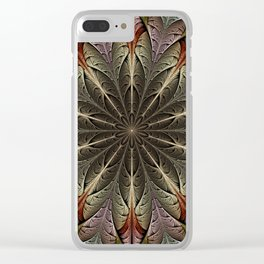 Fractal flower with a golden heart Clear iPhone Case