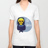 skeletor V-neck T-shirts featuring Skeletor-MOTU- by Smurf74