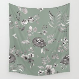 Stephanie Floral - Green Wall Tapestry