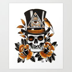 Smoking skull and roses Art Print