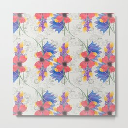 Bold Watercolor Floral - Sophisticated large scale charming print on white Metal Print