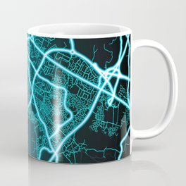 Gloucester, England, Blue, White, Neon, Glow, City, Map Coffee Mug