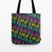 los angeles Tote Bags featuring Los Angeles by Fimbis