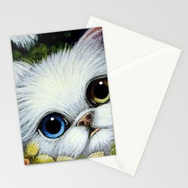 SPRING WHITE PERSIAN CAT with ODD EYES & YELLOW FLOWERS Stationery Cards