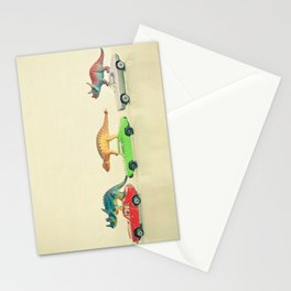 Dinosaurs Ride Cars Stationery Cards