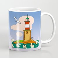 lighthouse Mugs featuring Lighthouse by LaDa