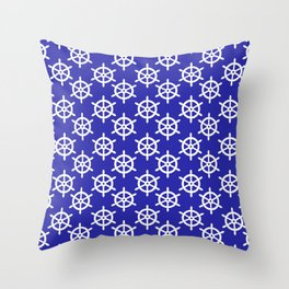Ship Wheel (White & Navy Blue Pattern) Throw Pillow