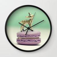 macaron Wall Clocks featuring Macaron Baby - Fawn by Tiny Deer Studio