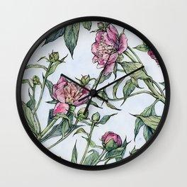 Peony Arrangement Wall Clock