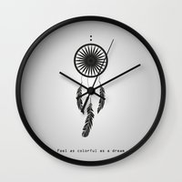 wwe Wall Clocks featuring Feel as colorful as a dream - Dreamcatcher by eARTh