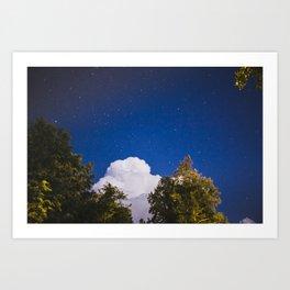 Sweet Dreams - Big White Cloud - Night Sky Stars Night Photography Art Print