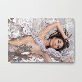Nude woman with tattoo. Tattoo on woman body Metal Print